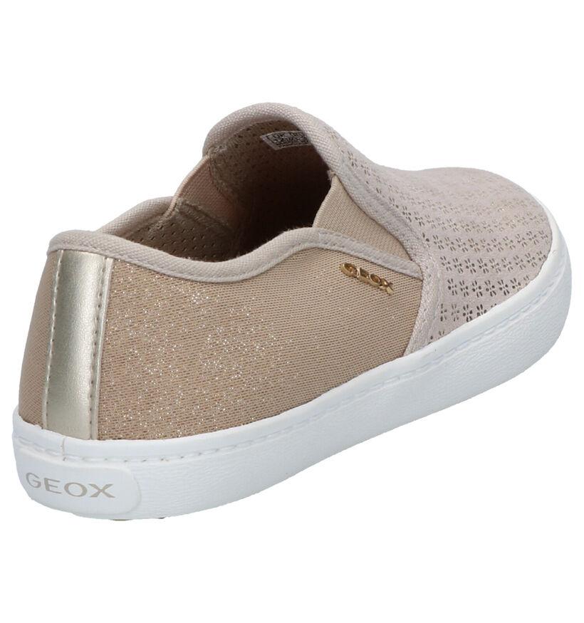 Geox Chaussures slip-on en Beige clair en textile (265765)