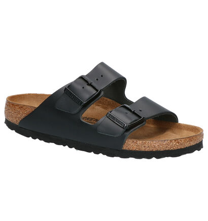 Birkenstock Arizona Zwarte Slippers in leer (255840)