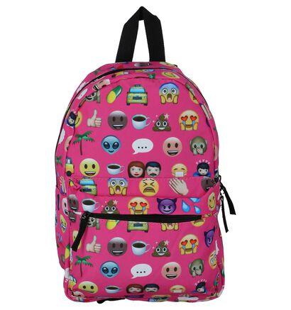 Fuchsia Roze Kinderrugzak Miss Lulu Emoji Backpack in stof (236144)