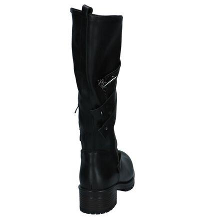 Baboos Zwarte Lange Laarzen Stoer in leer (235327)