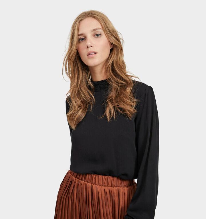 Vila Zwarte T-shirt Lange Mouwen