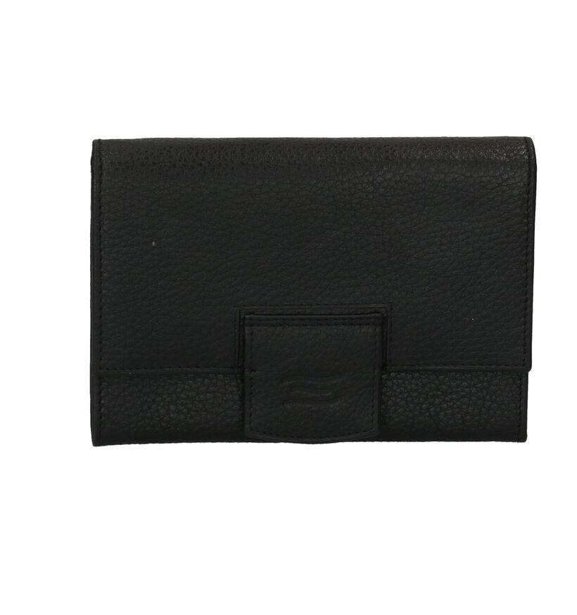 Crinkles Zwarte Overslagportemonnee in leer (262718)