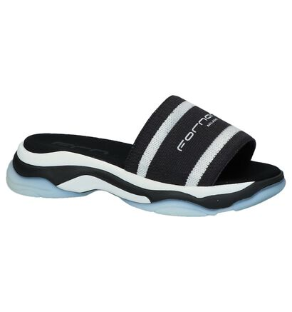Zwart/Witte Slippers Fornarina Super 10 in stof (236929)
