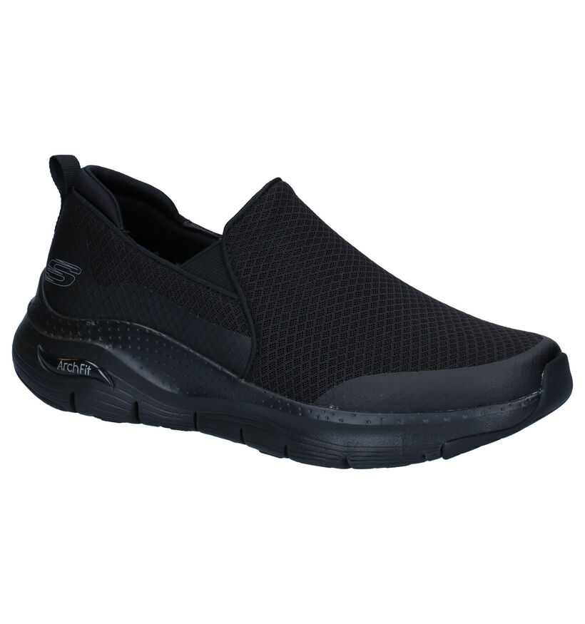 Skechers Arch Fit Zwarte Slip-on Sneakers in stof (279366)