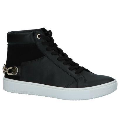 Zwarte Hoge Sneakers Tommy Hilfiger Chain Flag in leer (225486)