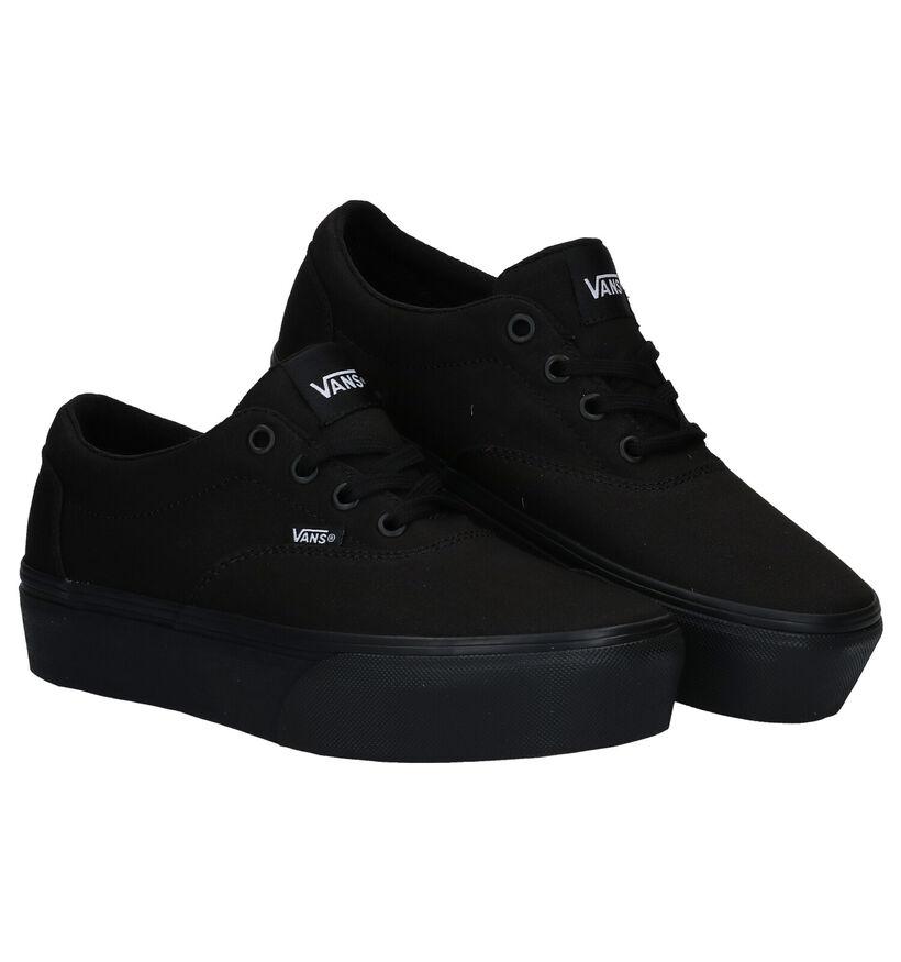 Vans Doheny Platform Zwarte Sneakers in stof (277688)