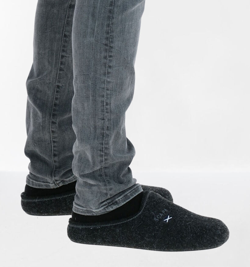 Scapa Grijze Pantoffels in stof (284023)