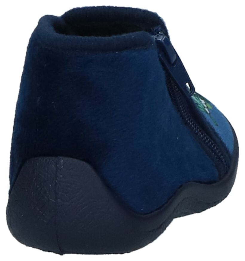 Milo & Mila Donker Blauwe Pantoffels in stof (235560)