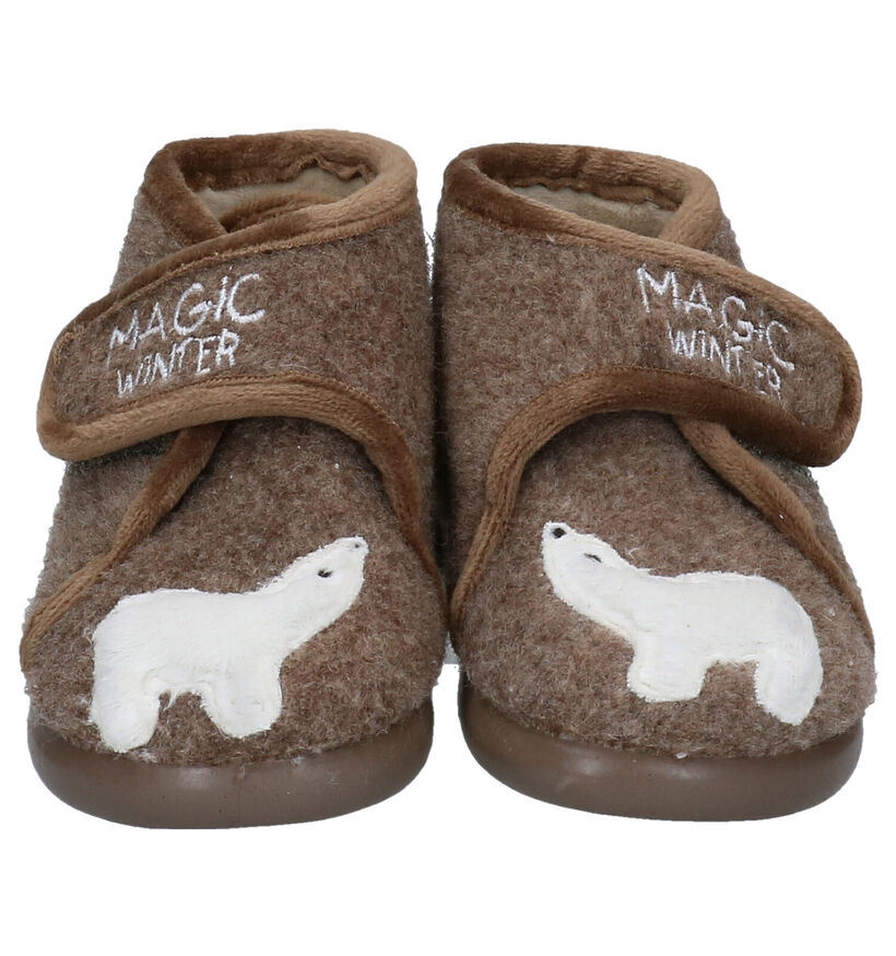Milo & Mila Taupe Pantoffels in stof (283948)