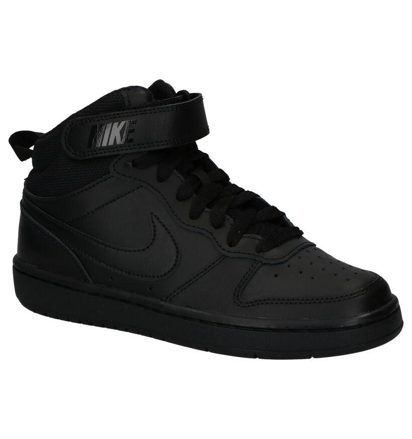 Zwarte Sneakers Nike Court Borough Mid in kunstleer (249908)