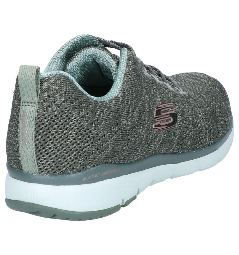 Skechers Flex Appeal Zwarte Sneakers in stof (277898)