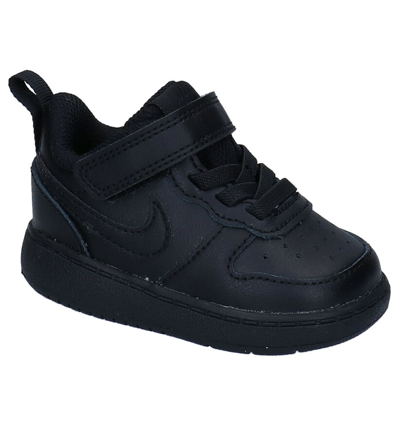 Nike Court Borough Zwarte Sneakers in kunstleer (274564)