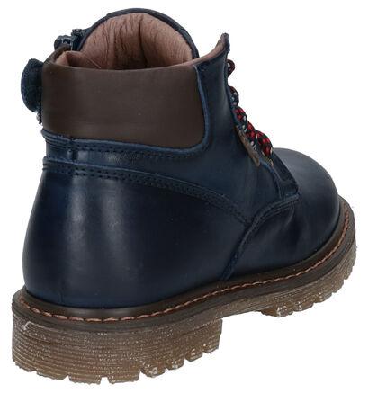 STONES and BONES Bonte Blauwe Boots in leer (259875)