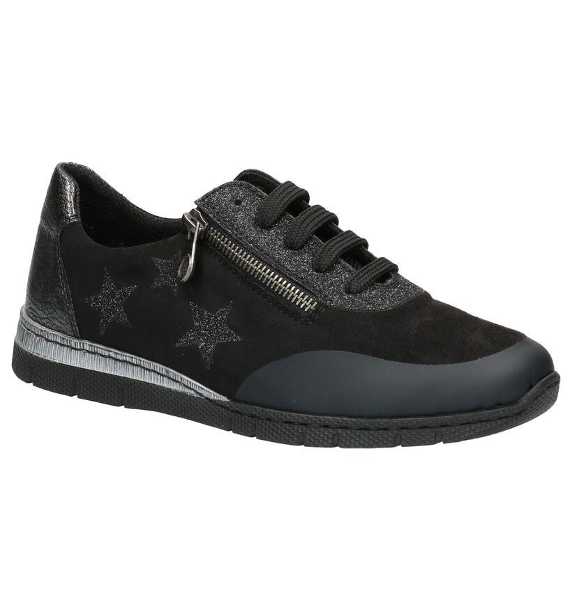 Rieker Zwarte Schoenen met Rits/Veter in stof (253742)