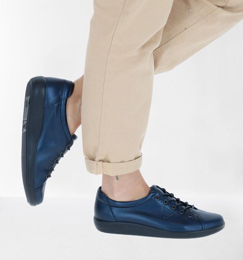 Ecco Soft 2.0 Chaussures à Lacets en Noir en cuir (270019)