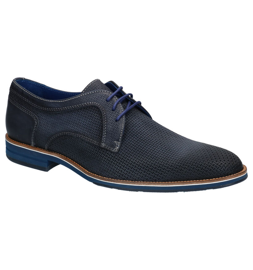 Braend Blauwe Geklede schoenen in leer (272572)