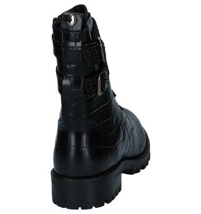 Scapa Zwarte Boots met Croco Print in leer (227385)