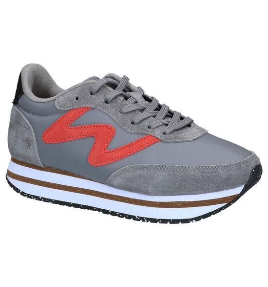 Woden Olivia Plateau Grijze Sneakers