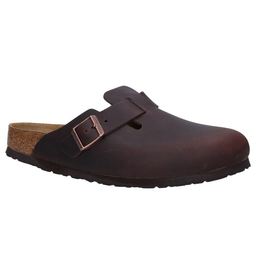 Birkenstock Boston Bruine Slippers in leer (281361)