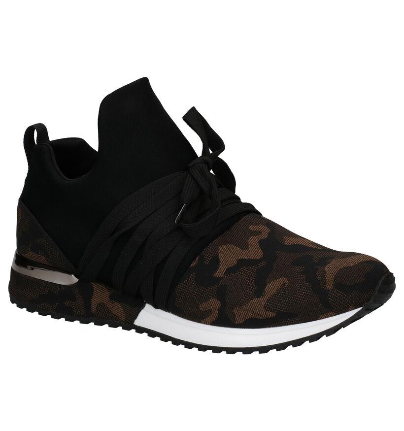 La Strada Zwarte Slip-on Sneakers in stof (278705)