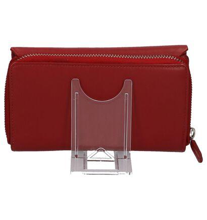 Euro-Leather Porte-monnaies à rabat en Rouge en cuir (220952)