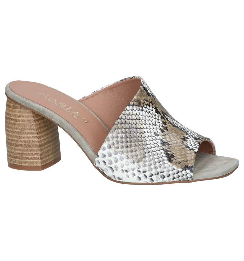 Marian Nu-pieds à talons en Vert kaki en cuir (249284)