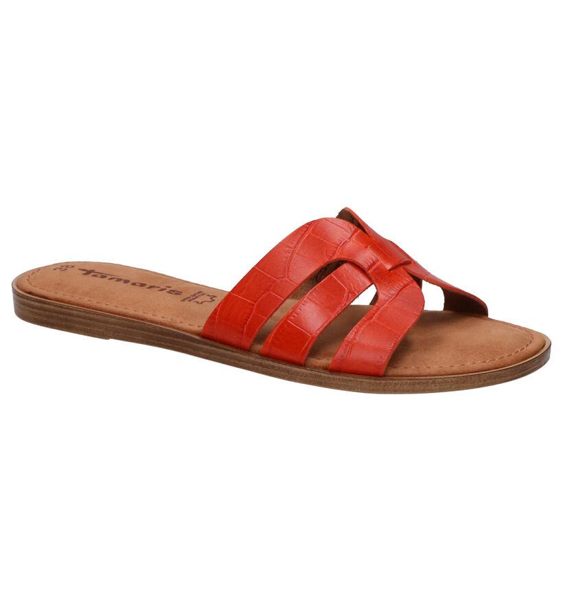 Tamaris Nu-pieds plates en Orange en cuir (270149)