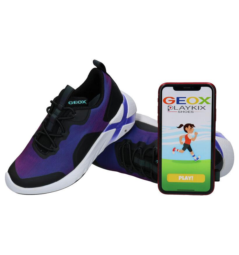 Geox Playkix Baskets en Mauve en textile (284110)