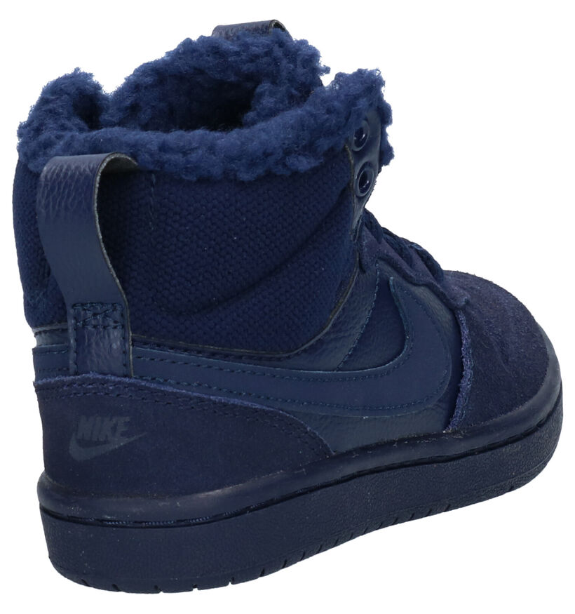 Nike Court Borough Mid Baskets en Bleu en simili cuir (262148)