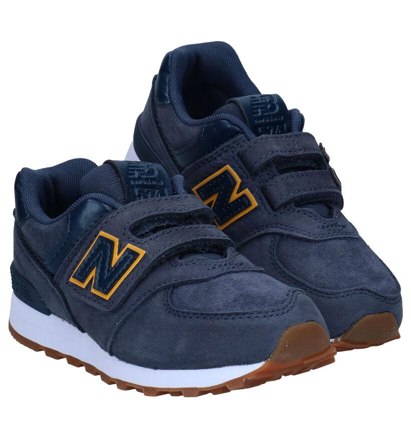 New Balance YV574 Blauwe Sneakers in daim (276847)