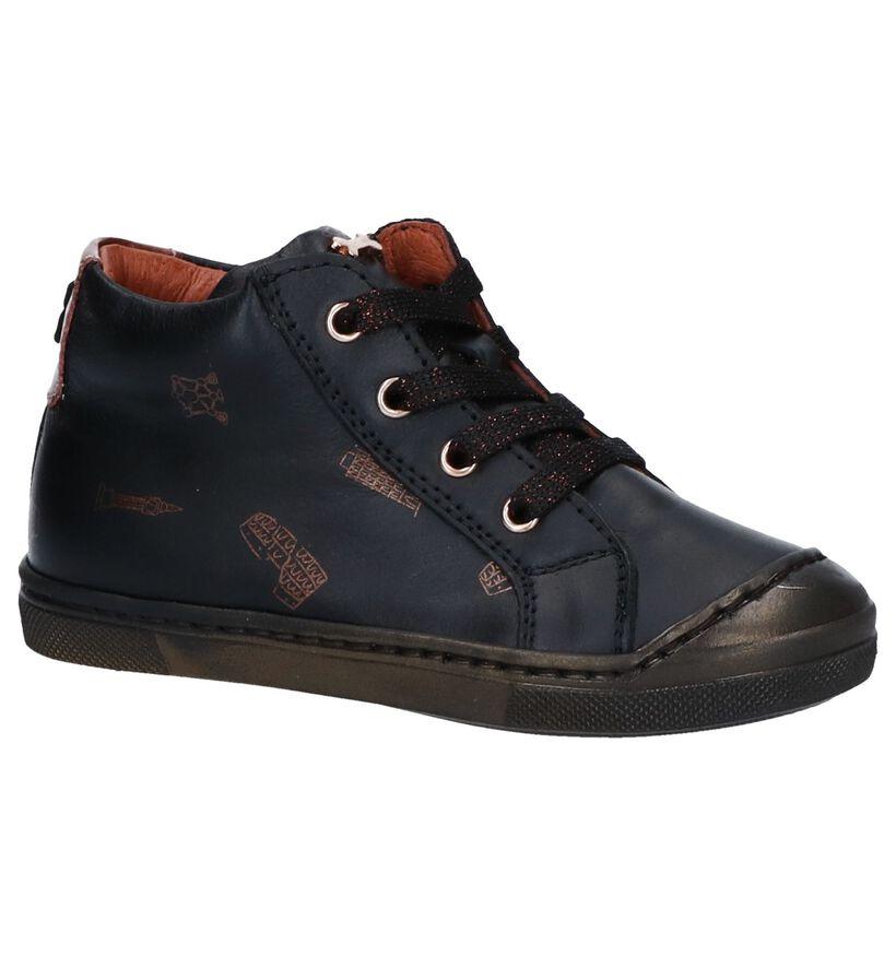 STONES and BONES Chaussures hautes en Noir en cuir (255512)