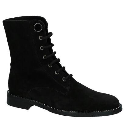 Zwarte Boots met Veter Love in daim (231317)