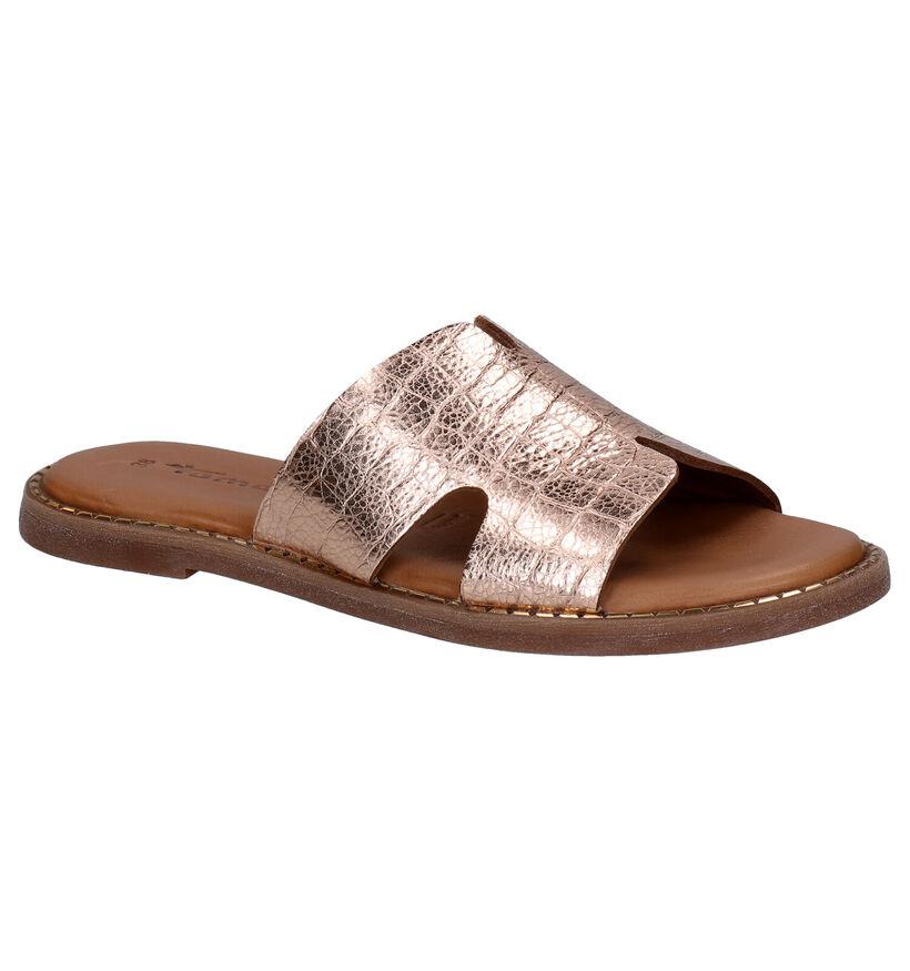 Tamaris Nu-pieds plates en Noir en cuir (289390)