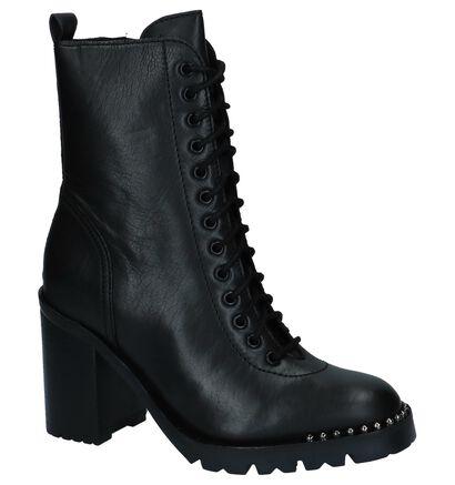 Bronx Zwarte Korte Laarzen met Rits/Veter in leer (229867)