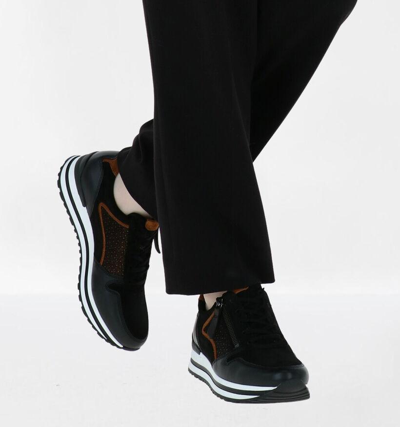 Gabor OptiFit Chaussures à Lacets en Noir en cuir (282283)