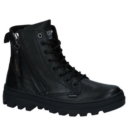 Palladium Zwarte Boots met Rits/Veter in leer (225220)