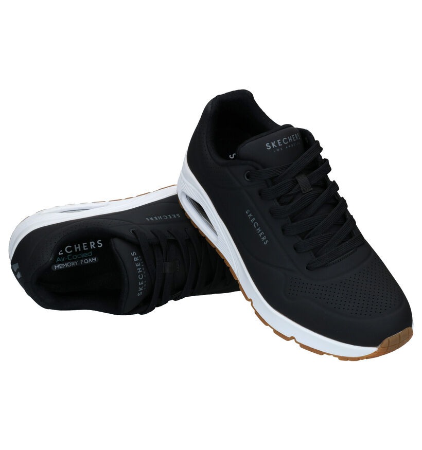 Skechers Uno Stand On Air Zwarte Sneakers in kunstleer (287003)