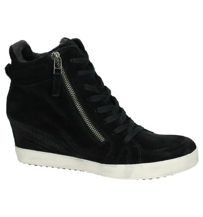 Sneaker met Sleehak Zwart Newblue in daim (167290)