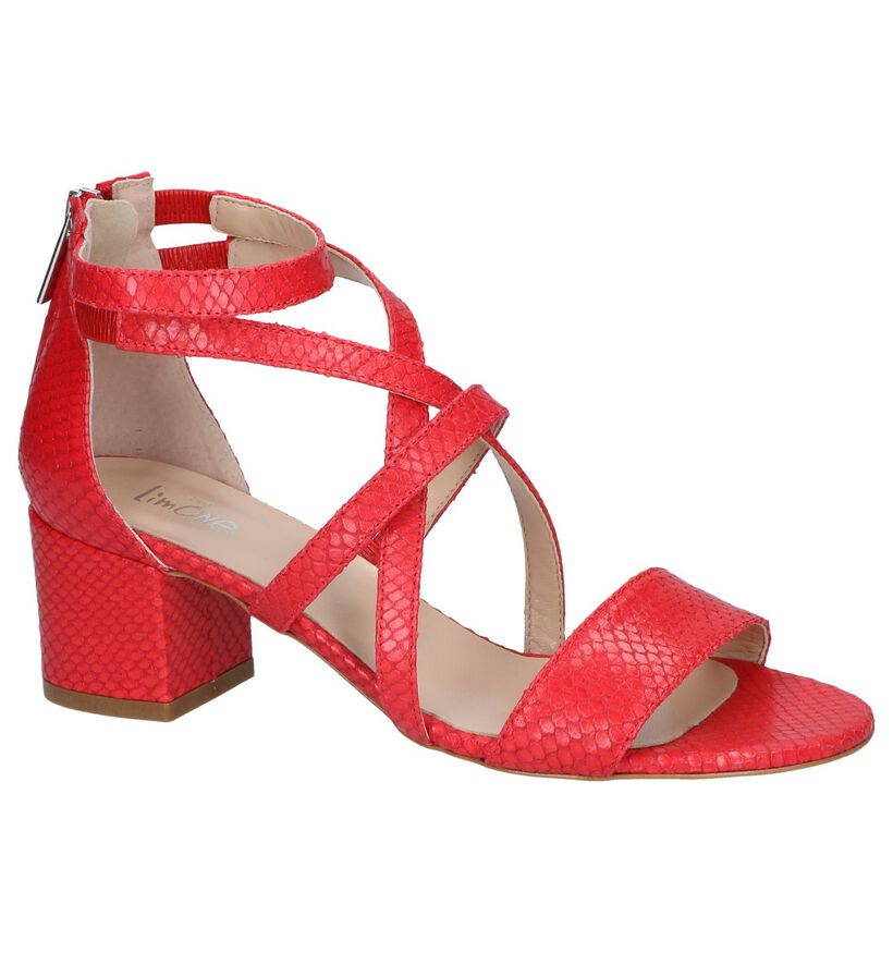 Via Limone Sandales à talons en Rouge en cuir (248711)