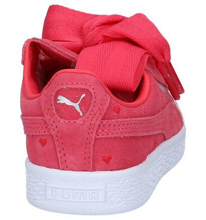 Fuchsia Sneakers Puma Suede Heart Valentine in nubuck (209898)
