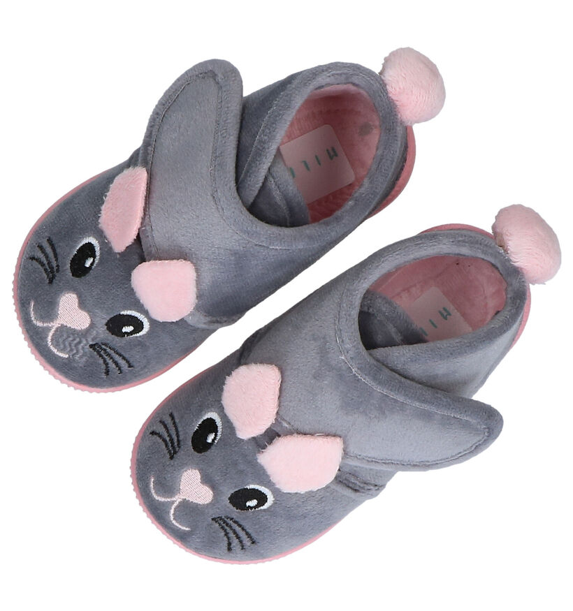 Milo & Mila Grijze Pantoffels in stof (283930)