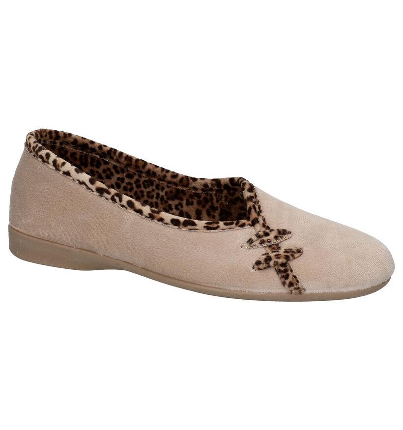 Slipper Club Beige Pantoffels in stof (292888)
