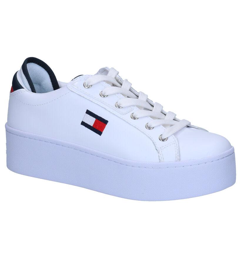 Tommy Hilfiger Flatform Witte Sneakers in kunstleer (264953)