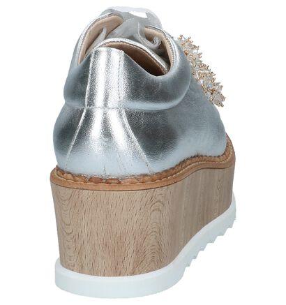 Zilveren Veterschoenen élysèss met Kralen in leer (220260)