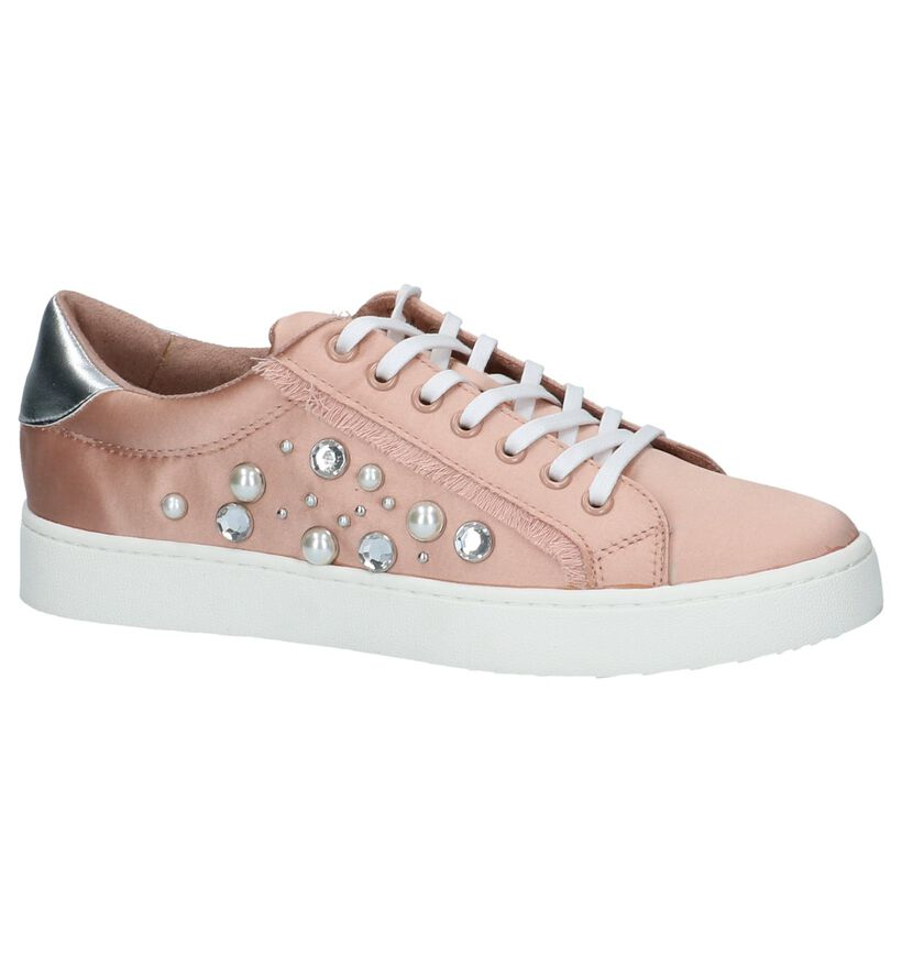 Roze Lage Geklede Sneakers Youh! in stof (212136)