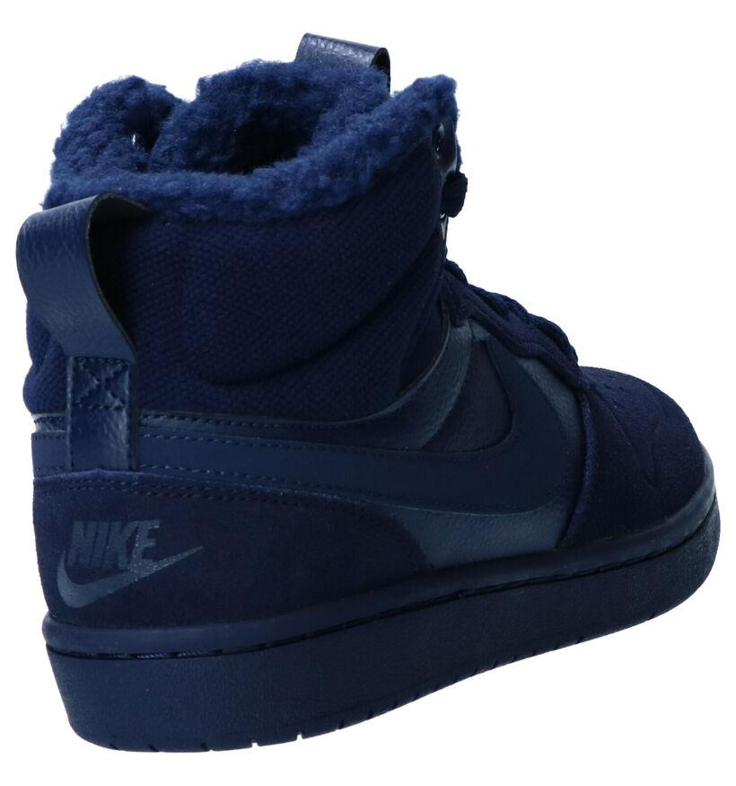 Nike Court Borough Baskets en Bleu en nubuck (261729)