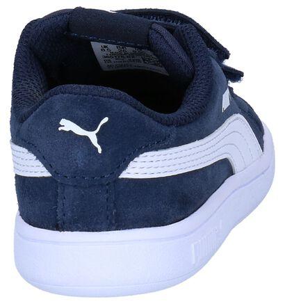 Donkerblauwe Sneakers Puma Smash v2 in leer (252630)