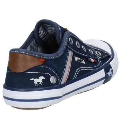 Mustang Blauwe Slip-on Sneakers in stof (266489)