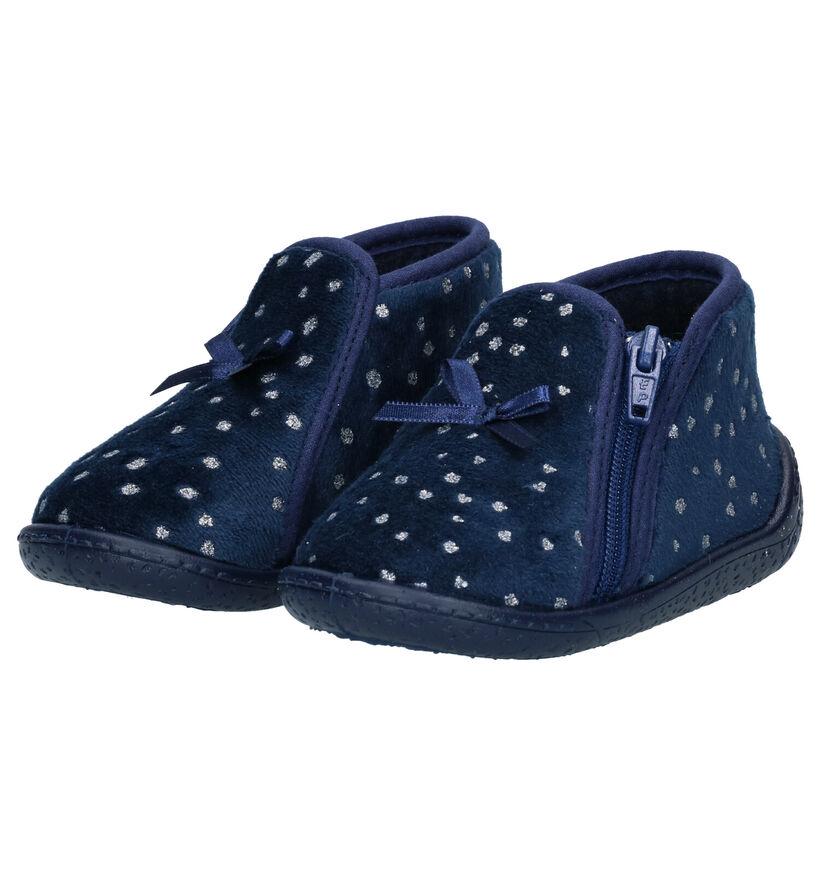 Milo & Mila Blauwe Pantoffels in stof (281577)