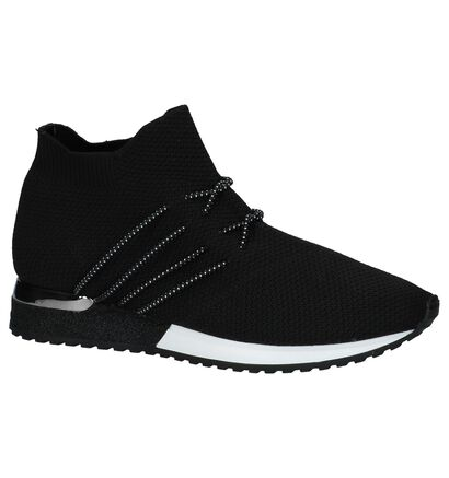 Hoge Geklede Sneakers Zwart La Strada in stof (223875)